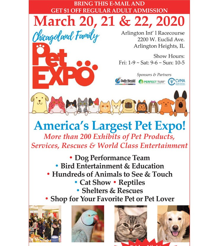 Join us at ChicagoLand Pet Expo March 20-22, 2020